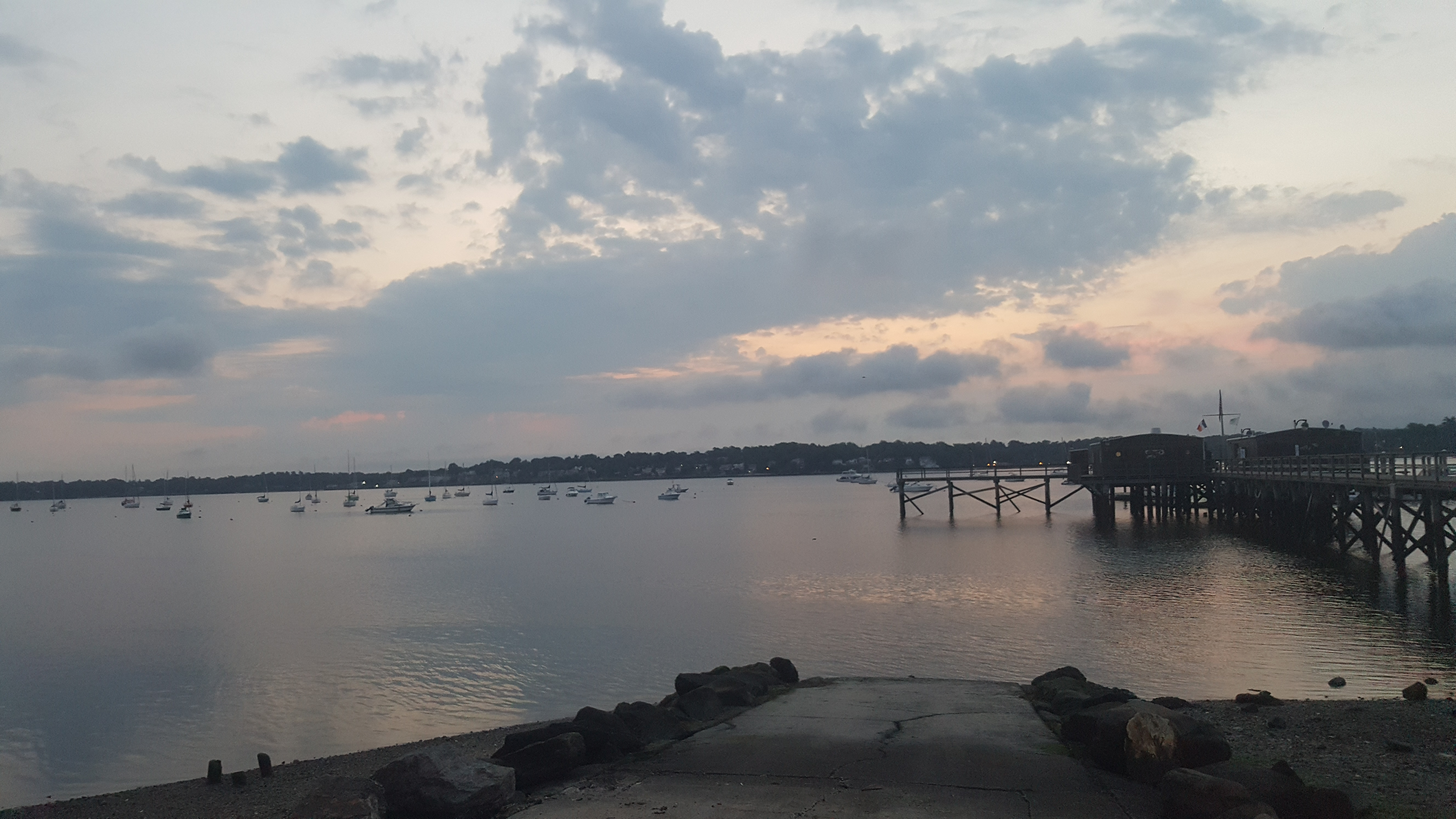 Skyline view of Little Neck Bay at dawn