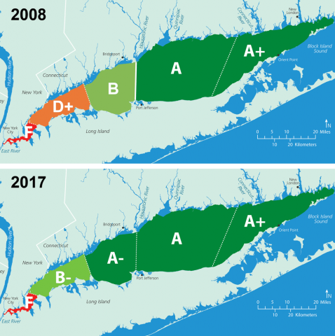 Long Island Sounds 2008 vs 2017 water quality report card